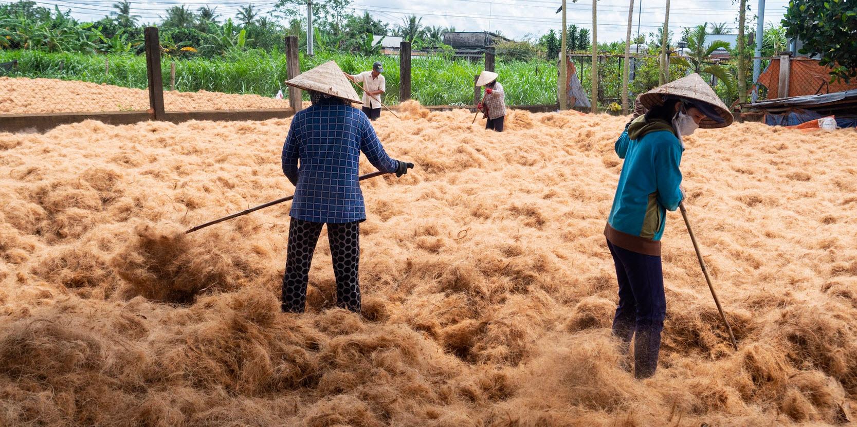 Cycling mekong delta BenTre - coconut fiber